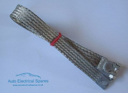 190225 braided NEGATIVE battery lead/  earth strap 450mm FLAT profile